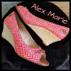 Alex Marie Coral Pattern Espadrille Wedges, Size 8